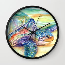 Rainbow Sea Turtle 2 Wall Clock