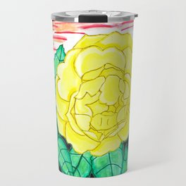 Sunset Rose Watercolor Travel Mug