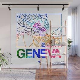 Geneva Watercolor Street Map Wall Mural
