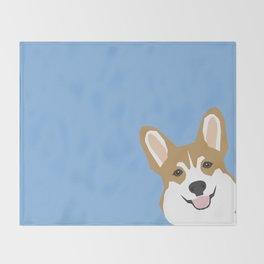 Corgi Peek  cute dog welsh corgi gift unique pet customizable gifts for dog lovers Throw Blanket