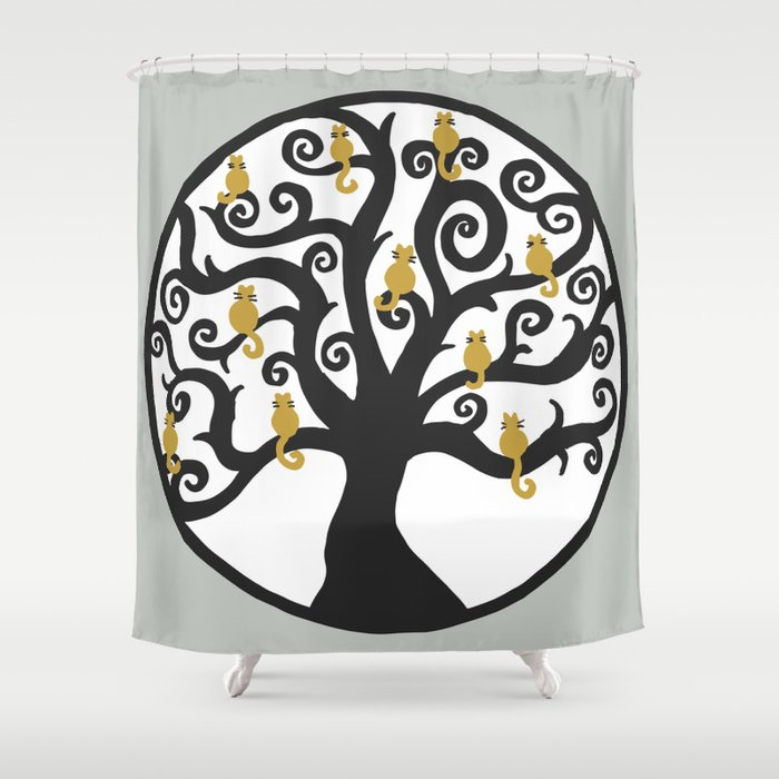 Cat Tree Of Life Shower Curtain By Julieerindesigns