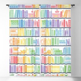 Rainbow Shelf Book Pattern - White Background Blackout Curtain