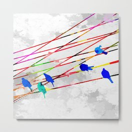 Birds on the Wire Metal Print