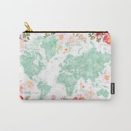 Mint green and hot pink watercolor world map with cities Carry-All Pouch