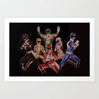 power rangers Art Prints featuring Power Rangers by Sam Crotty