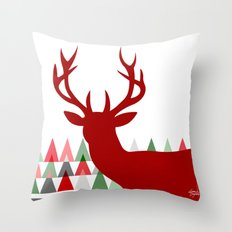 Deer Head Geometric Triangles   white red green Throw Pillow