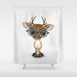 Cute Curious Nerdy Baby Deer Wearing Glasses Shower Curtain