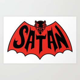Satan Devil Bat Man Vintage Style Logo Art Print