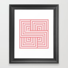 Coral Nautical Stripes Framed Art Print