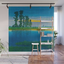 Vintage Japanese Woodblock Japanese Wetlands Landscape Tall Ancient Tree Wall Mural