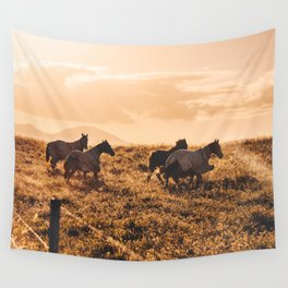 wild horses at dusk Wall Tapestry
