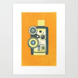 Blue Vintage Camera Art Print