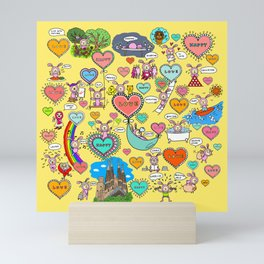 Do what makes you happy -Yellow Mini Art Print