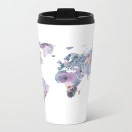 Watercolor Floral Map Metal Travel Mug