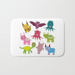 Sticker set Funny monsters collection on white background Bath Mat