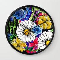 alisa burke Wall Clocks featuring daisies by Alisa Burke