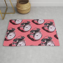 Don't Be Late! - Kitschy Clocks on Pink Rug