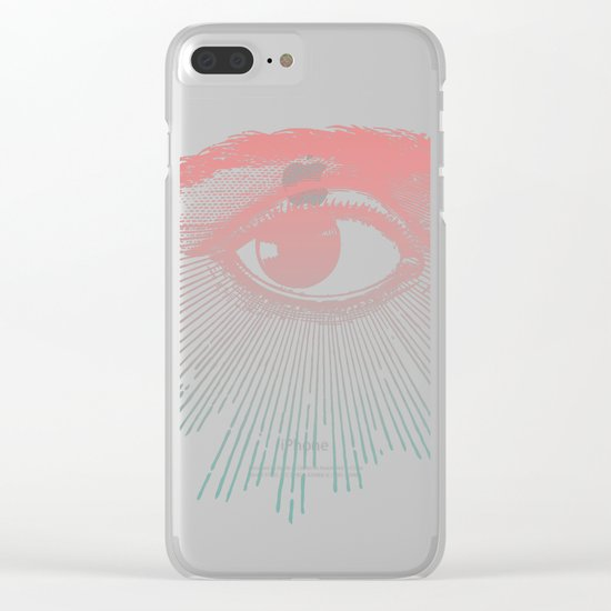 I See You. Pink Turquoise Gradient Sunburst Clear iPhone Case