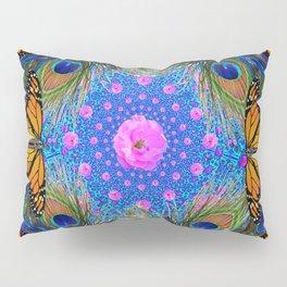 MONARCH BUTTERFLIES & PINK ROSES Pillow Sham