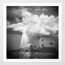 Girl in the Hawaiian Sky - Holga Black and White double exposure Art Print