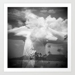 Girl in the Hawaiian Sky - Holga Black and White double exposure Art Print