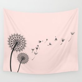 Contemporary Dandelion Flying Seedheads Drawing Wall Tapestry