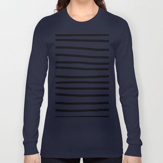Simply Drawn Stripes in Midnight Black Long Sleeve T-shirt