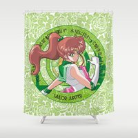 sailor jupiter Shower Curtains featuring Sailor Jupiter - Crystal Intro by Yue Graphic Design