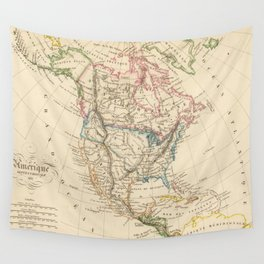Vintage Map of North America (1837) Wall Tapestry