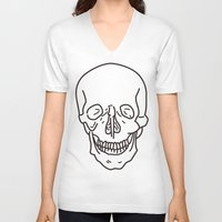 skeleton V-neck T-shirts featuring Skeleton by FACTORIE
