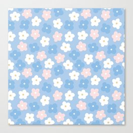 Pastel pink blue hand painted modern floral Canvas Print