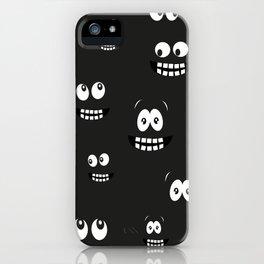 Glowing in the dark eyes vector halloween background design pattern iPhone Case