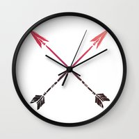 arrows Wall Clocks featuring Arrows by Indulge My Heart