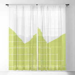 Geometric collage grid pattern in lime Sheer Curtain