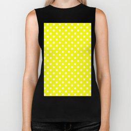 Small Polka Dots - White on Yellow Biker Tank