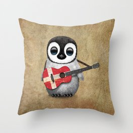 Baby Penguin Playing Danish Flag Acoustic Guitar Throw Pillow
