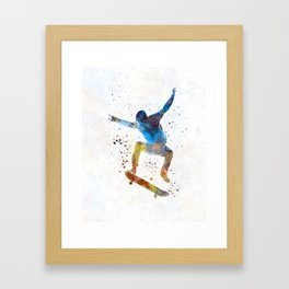 Man skateboard 01 in watercolor Framed Art Print