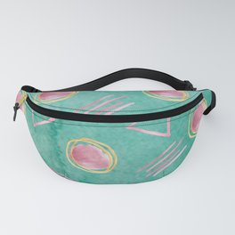 Pink Circles & Triangles woven in a Geometric Abstract Pattern Fanny Pack