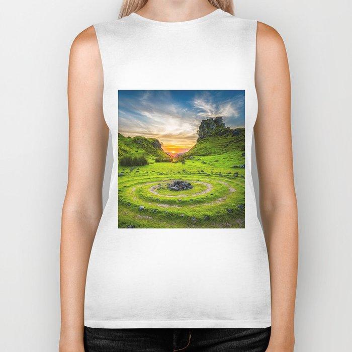 Fairytale Landscape, Isle of Skye, Scotland Biker Tank