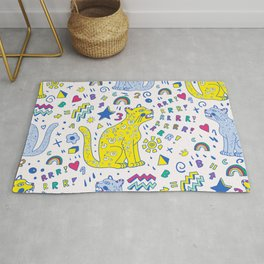 childish pattern with tiger,letters,rainbows,numbers and stars ,drawn with markers Rug