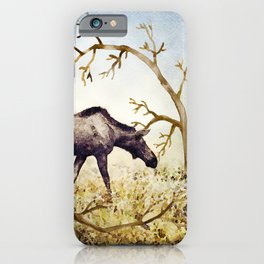 Watercolor Painting of Female Moose iPhone Case