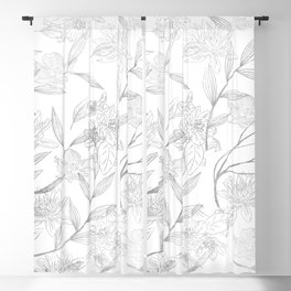 Elegant faux silver modern trendy floral Blackout Curtain
