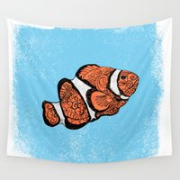 clown Wall Tapestries featuring Clown Fish by Cat Milchard