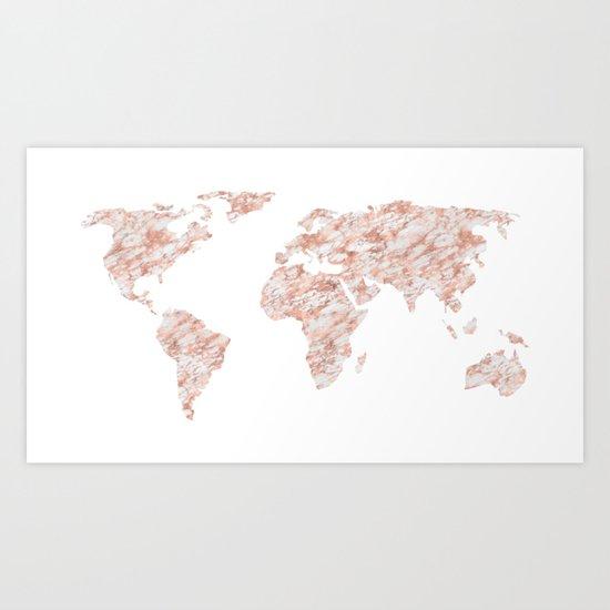 World Map Rose Gold Marble Art Print