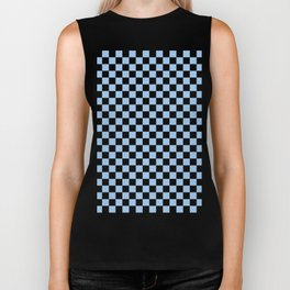 Black and Baby Blue Checkerboard Biker Tank