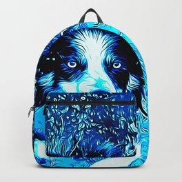 border collie jumping in water vector art crisp winter Backpack
