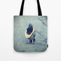 hiphop Tote Bags featuring HipHop Dove Wait by Sigurdfisk