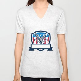 American Eagle Clutching Towing J Hook Shield Retro Unisex V-Neck