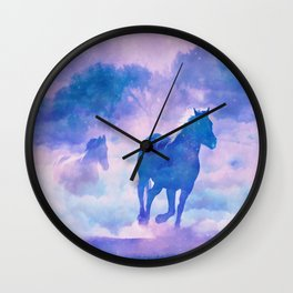Horses run Wall Clock