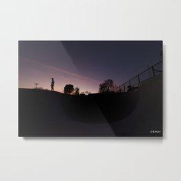 Sunset Pool Deck Metal Print
